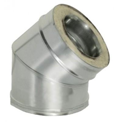 Колено дымоходное утепленное нержавеющая сталь /оцинкованная сталь 45°, Иронвент D-225 мм 0,6 мм