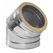 Колено дымоходное утепленное нерж/нерж Иронвент 45*, D-130 мм толщина 0,6 мм