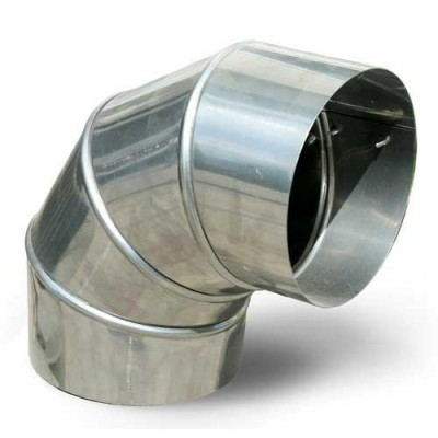 Колено дымоходное одностенное нерж 90*, D-120 мм толщина 0,6 мм