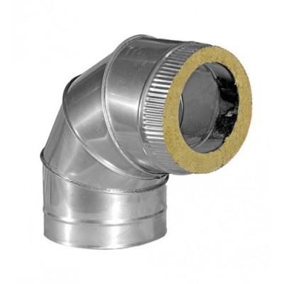 Колено дымоходное утепленное нерж/оц  90°, D-110 мм толщина 0,6 мм