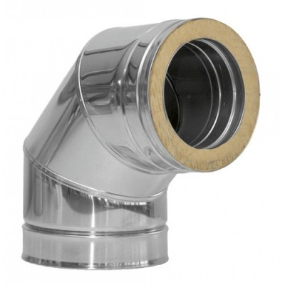 Колено дымоходное утепленное нержавеющая сталь /нержавеющая сталь 90°, D-130 мм толщина 0,8 мм   Производитель : Иронвент