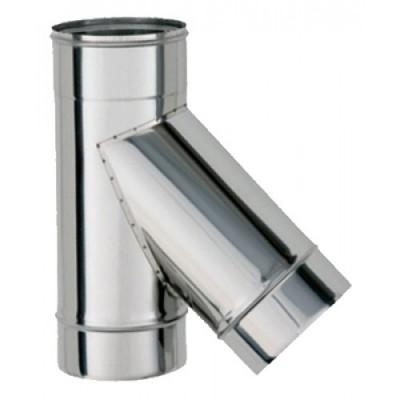 Тройник дымоходный одностеный нерж  45°, D-230 мм толщина 0,6 мм