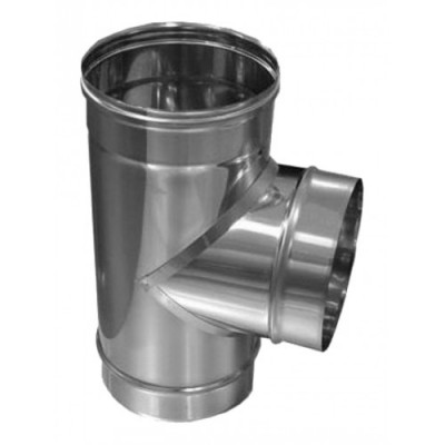 Тройник дымоходный одностеный нержавеющая сталь  87°, Иронвент  D-300 мм    1 мм