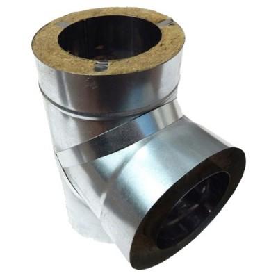 Тройник дымоходный утепленный нержавеющая сталь /оцинкованная сталь  87°, Иронвент D-250 мм   0,8 мм